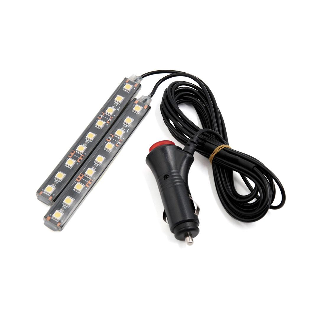2Pcs 9 LED White Light Car Interior Atmosphere Floor Decorative Lamp Kit