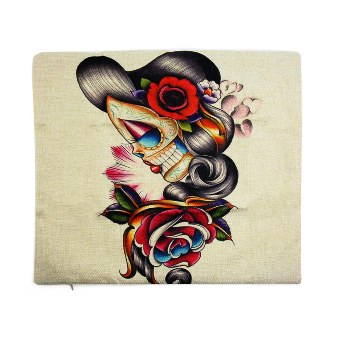 Square Linen Gothic Skull Printed Car Throw Cushion Pillow Cover Home Decor
