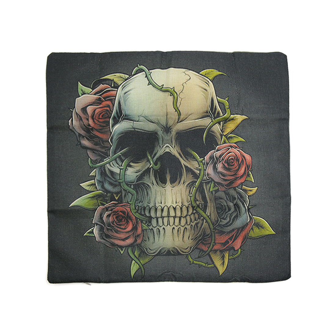 Square Linen Dancing Skull Printed Car Throw Cushion Pillow Cover Home Decor