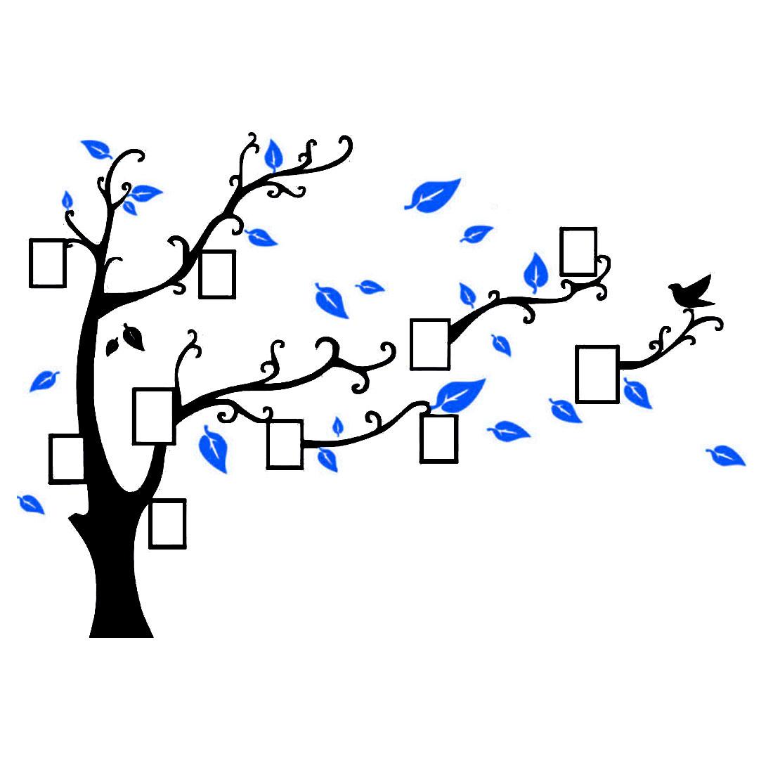 Acrylic Tree Photo Frame Design DIY Self-adhesive 3D Wall Sticker Light Blue