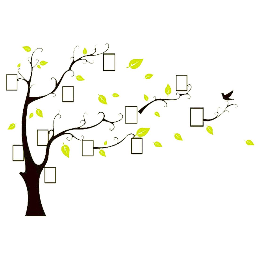 Room Acrylic Tree Photo Frame Design DIY Self-adhesive 3D Wall Sticker Yellow