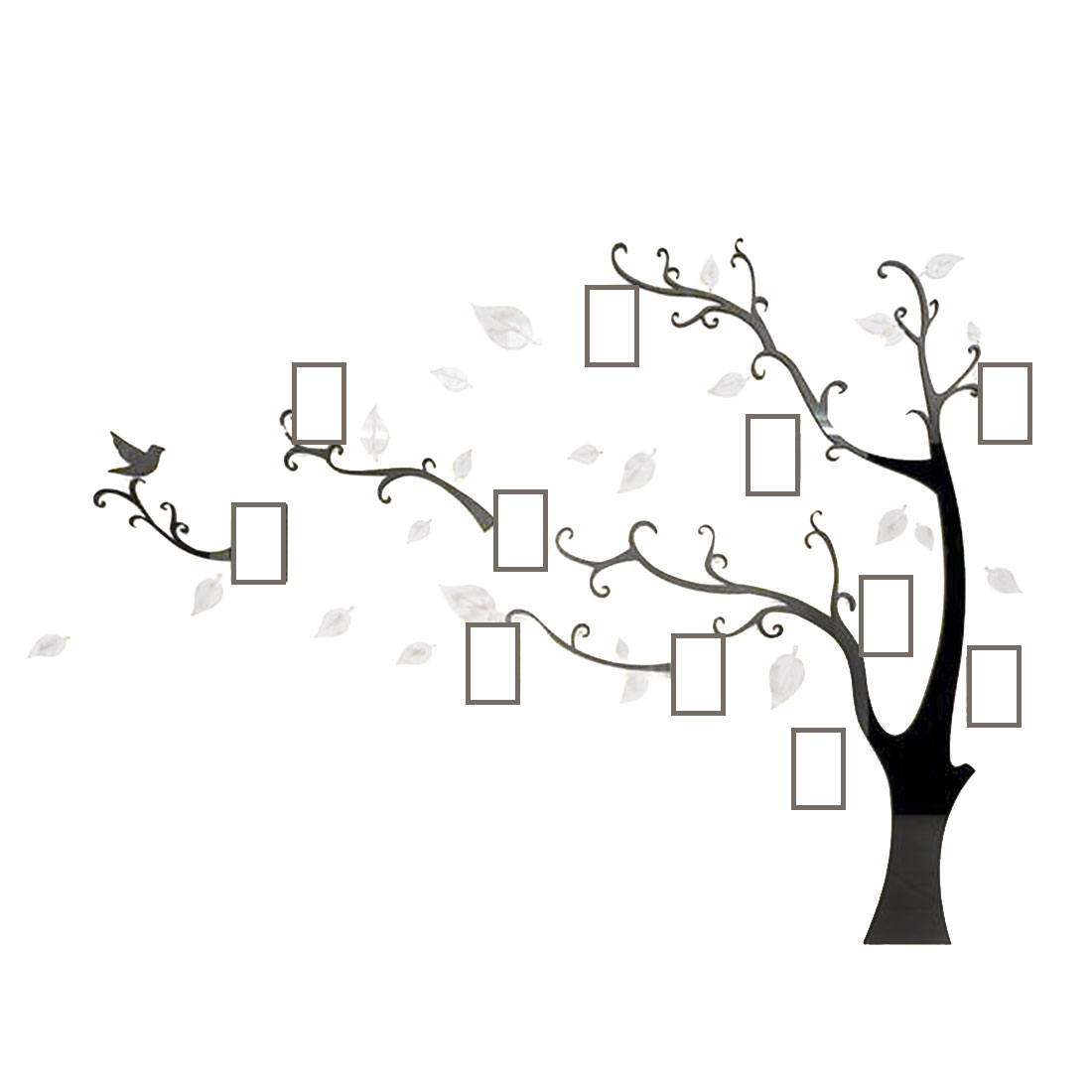 Home Room Acrylic Tree Photo Frame Design DIY 3D Wall Sticker White 130 x 100cm