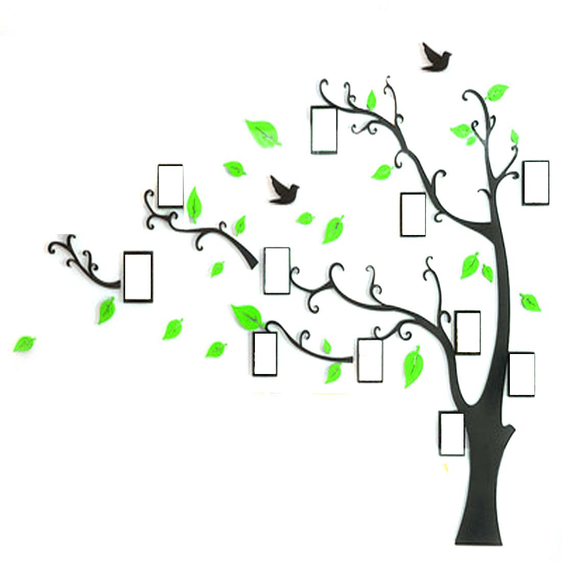 Room Acrylic Tree Photo Frame Design DIY 3D Wall Sticker Light Green 130 x 100cm