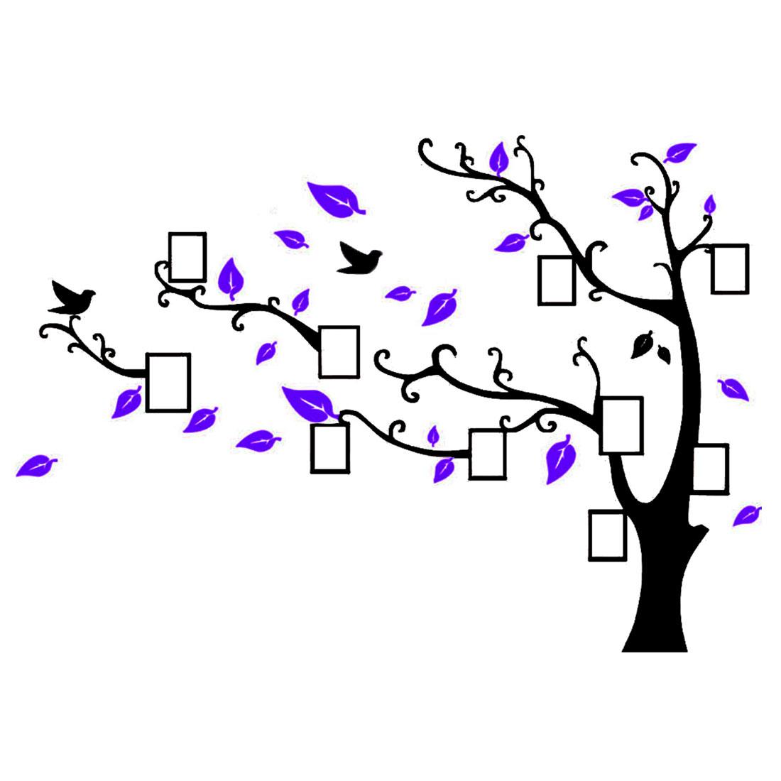 Home Room Acrylic Tree Photo Frame Design DIY 3D Wall Sticker Purple 130 x 100cm