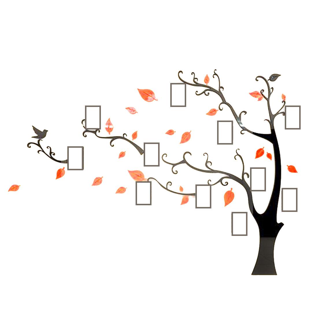 Home Room Acrylic Tree Photo Frame Design DIY 3D Wall Sticker Orange 130 x 100cm