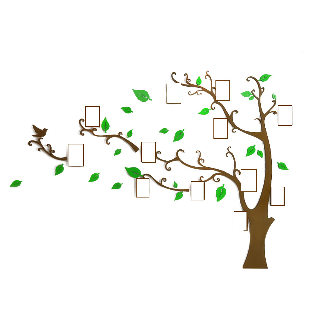Home Room Acrylic Tree Photo Frame Design DIY 3D Wall Sticker Green 130 x 100cm