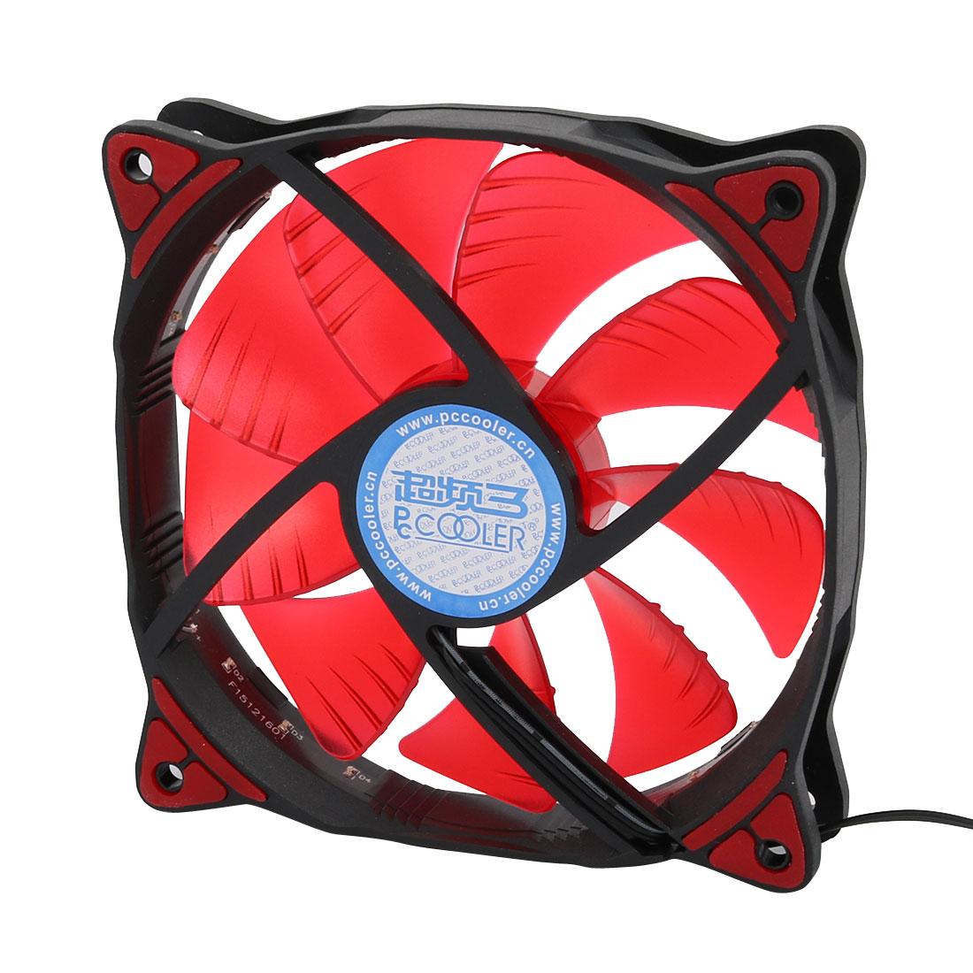 DC12V 1200RPM 16 Red LED Light 19dB Mute Fan f PC Cases CPU Cooler Radiator 12cm