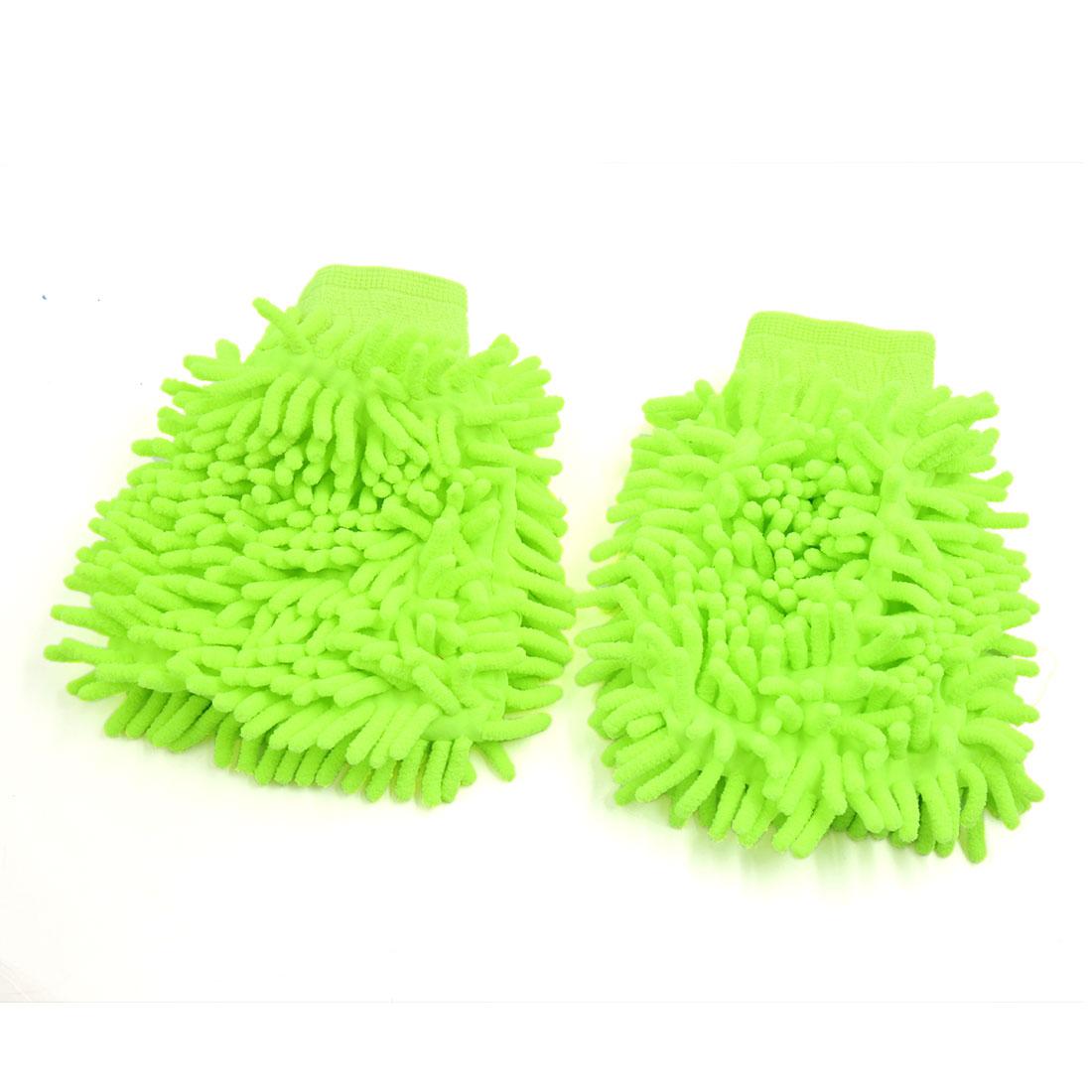 2Pcs Green Mircofiber Chenille Washing Glove Car Dusting Cleaning Tool Sleeve