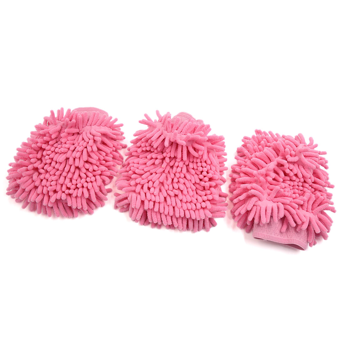 3 Pcs Pink Chenille Brush Washing Glove Dusting Cleaning Tool Sleeve for Car