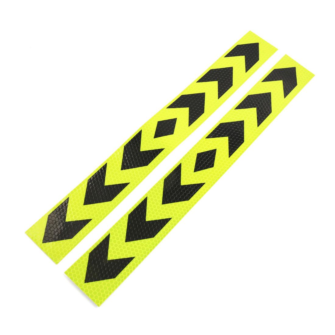 20Pcs Yellow Black Arrow Printed Car Self-adhesive Reflective Warning Sign Strip