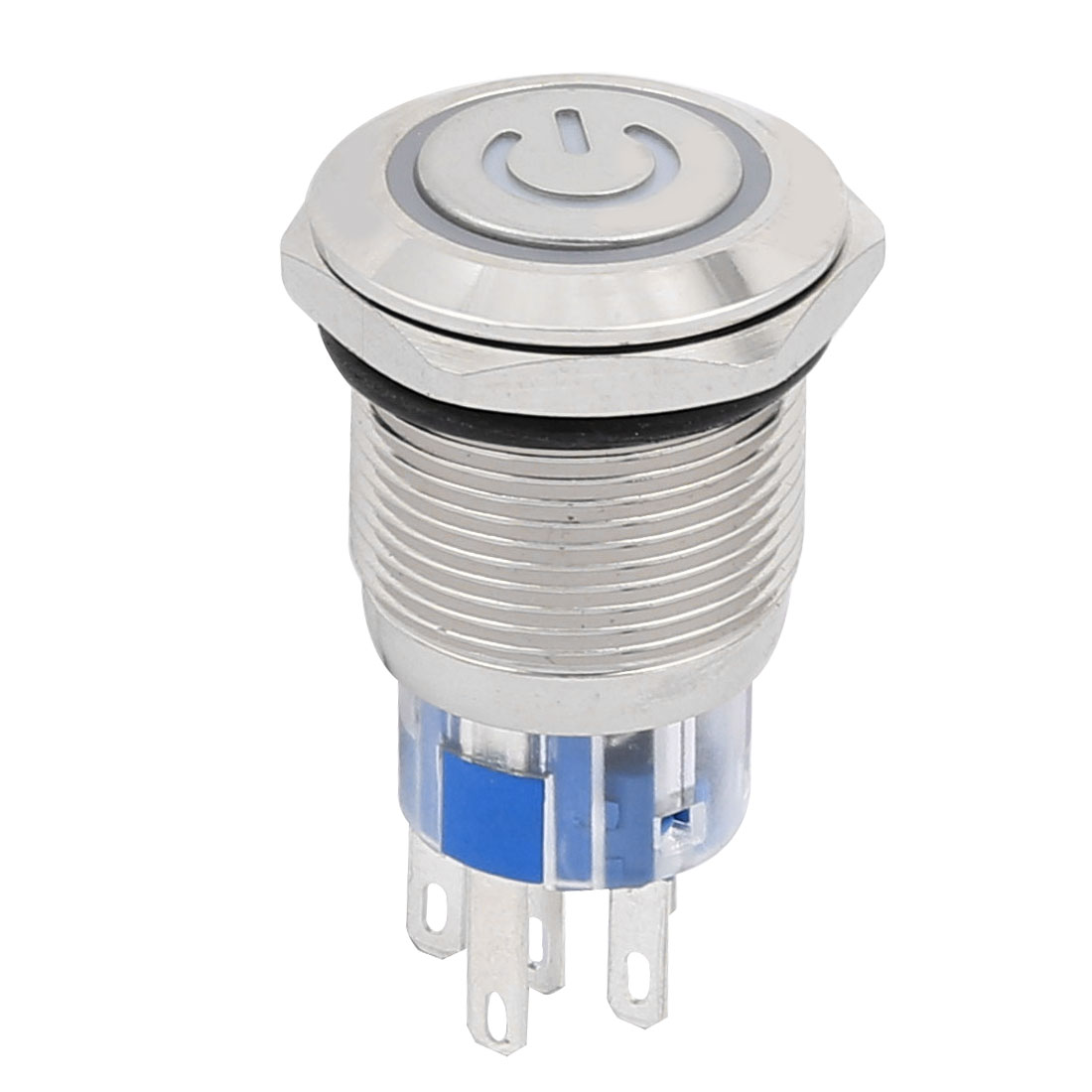 DC24V 19mm Thread Dia 5P Red LED Momentary Stainless Push Button Switch