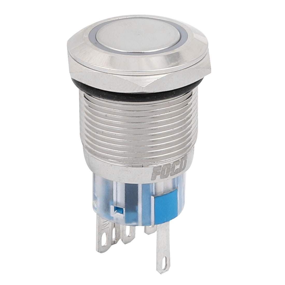 DC24V 19mm Thread Dia 5 Terminal Blue LED Momentary Stainless Push Button Switch
