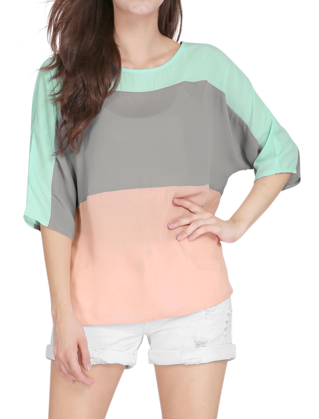 Allegra K Women Color Block Batwing Sleeves Chiffon Loose Tunic Blouse Pink XS