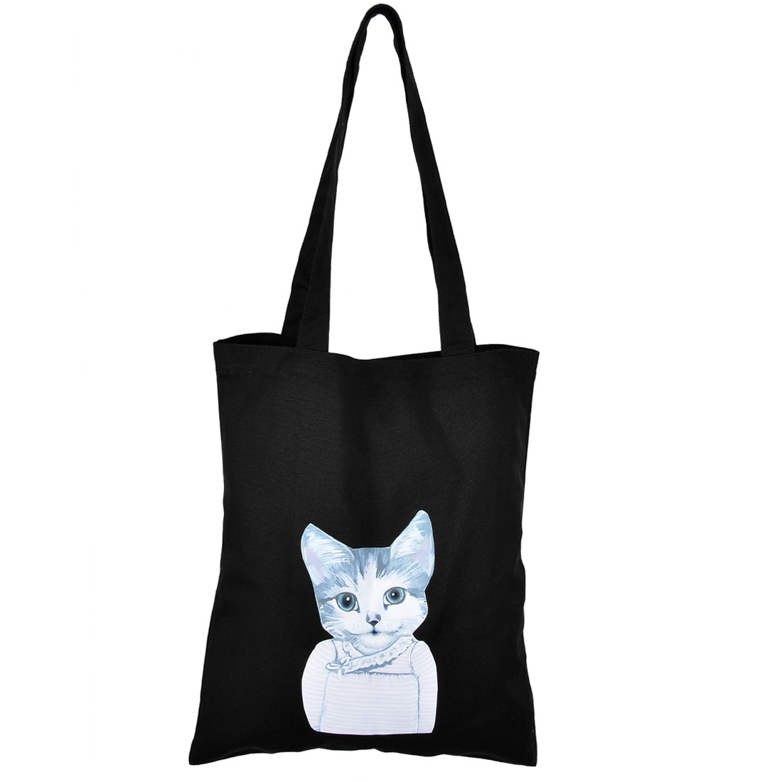 Home Canvas Cat Pattern Reusable Washable Shopping Pouch Tote Storage Bag Black