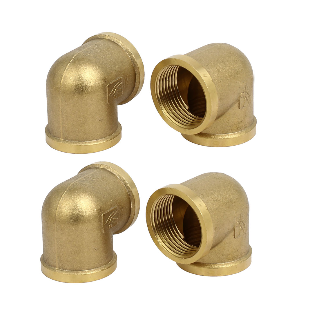1BSP Female Thread Brass 90 Degree Elbow Tube Pipe Connecting Fittings 4pcs