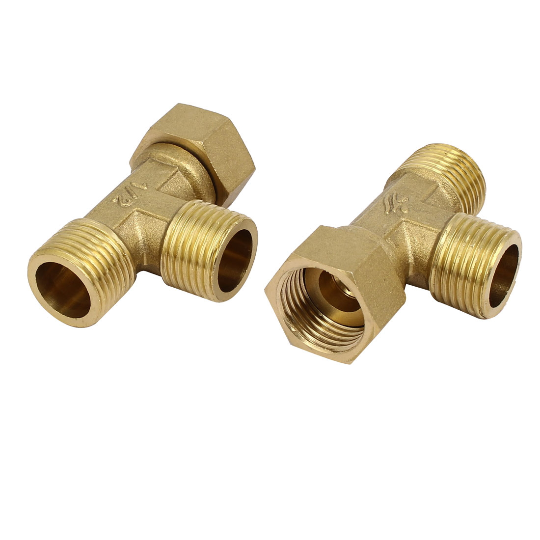 1/2BSP Brass Male Female Threaded 3-Way Pipe Fittings Couplers Connectors 2pcs