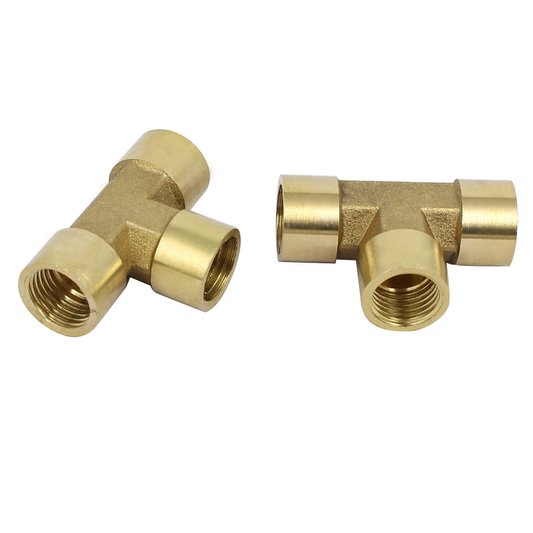 1/4BSP Female Thread Brass T Shape Tube Pipe Connecting Fittings Connectors 2pcs