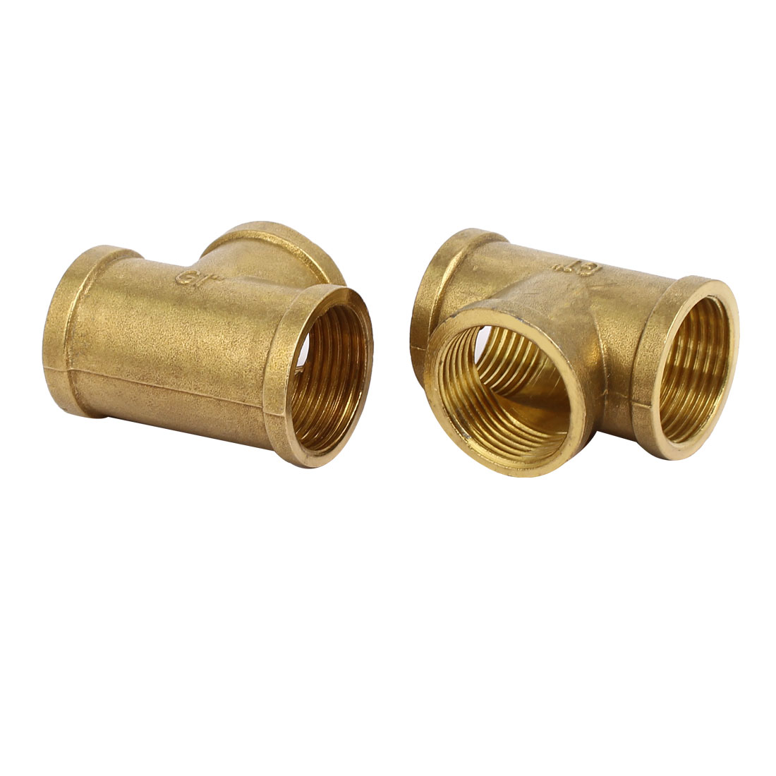 1BSP Female Thread Brass T Shape Tube Pipe Connecting Fittings Connectors 2pcs