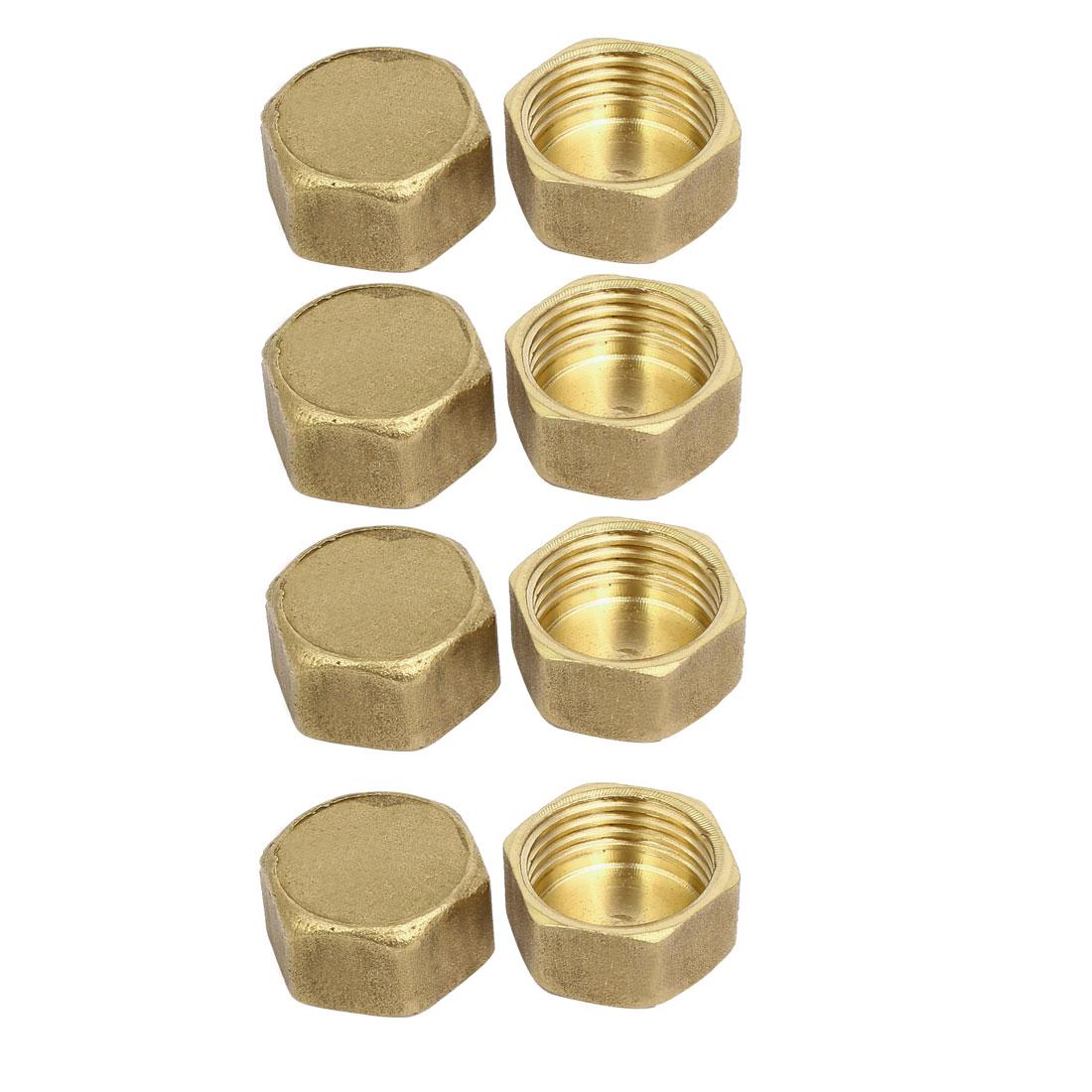 1/2BSP Female Thread Brass Hex Head Pipe Caps Cover Fitting 8pcs