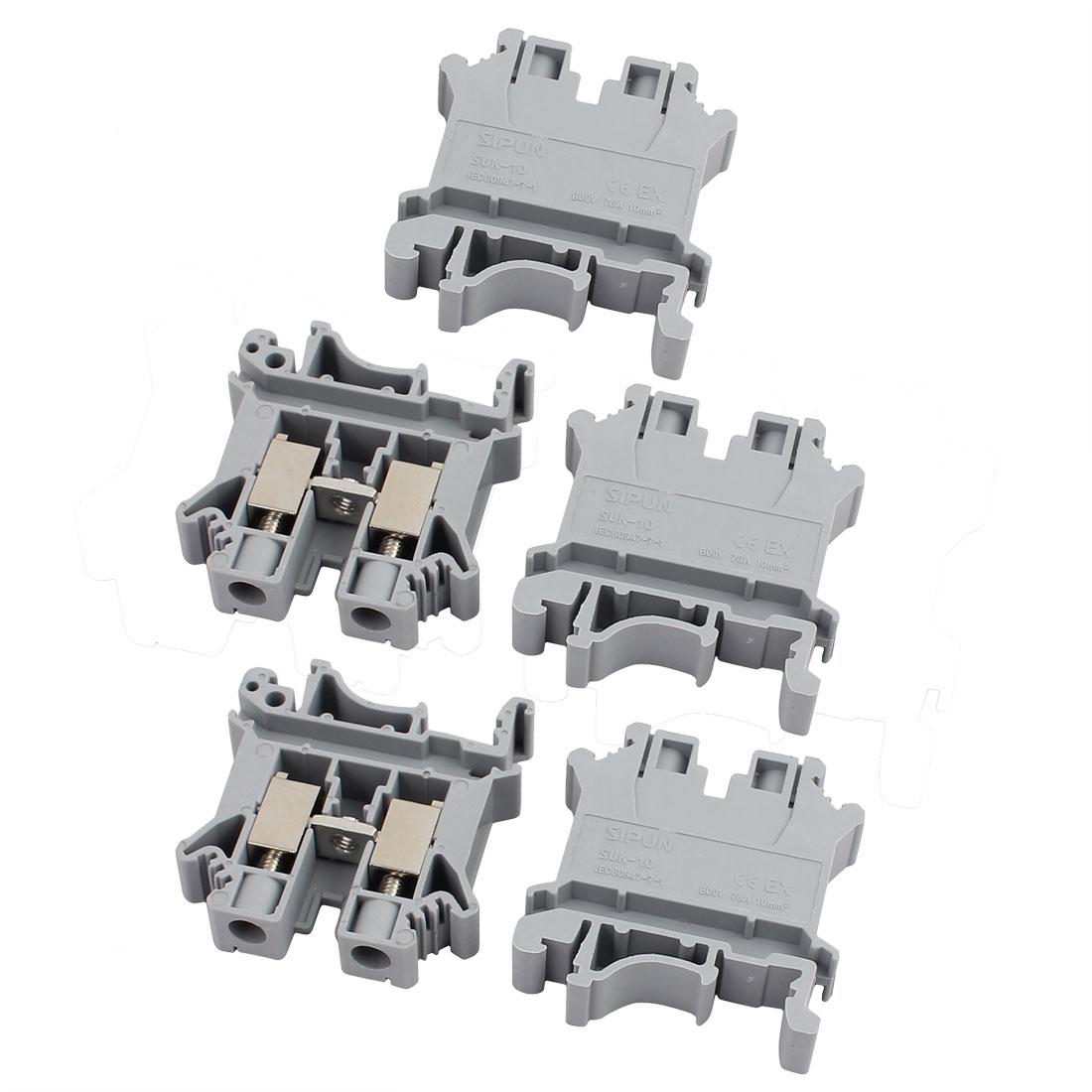 SUK-10N 800V 76A Rail Mount 10mm2 Cable Screwless Terminal Block Gray 5pcs