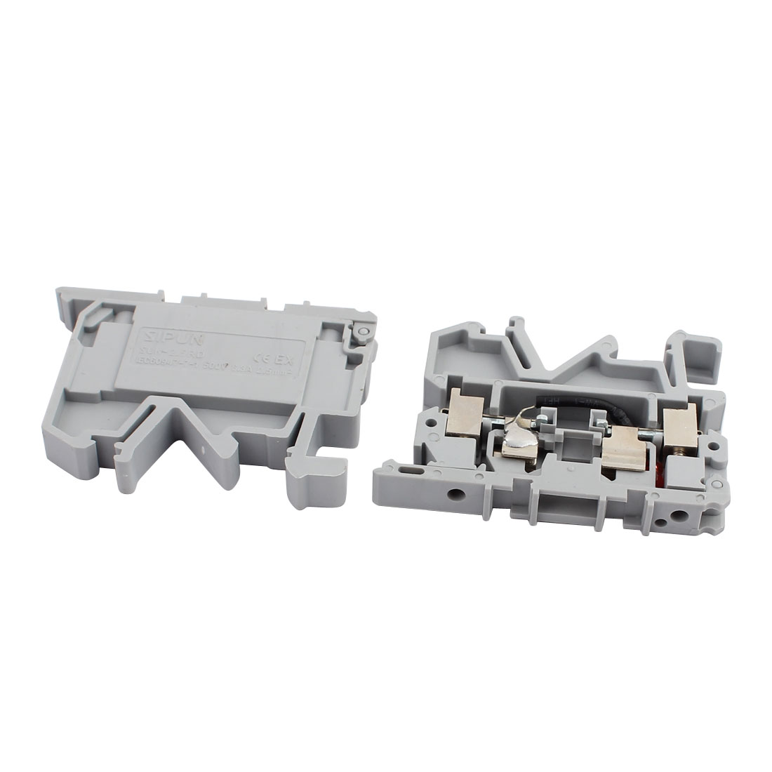 2pcs SUK-2.5RD/X 500V 6.3A Rail Mount 2.5mm2 Cable Fuse Type Terminal Blocks Gray