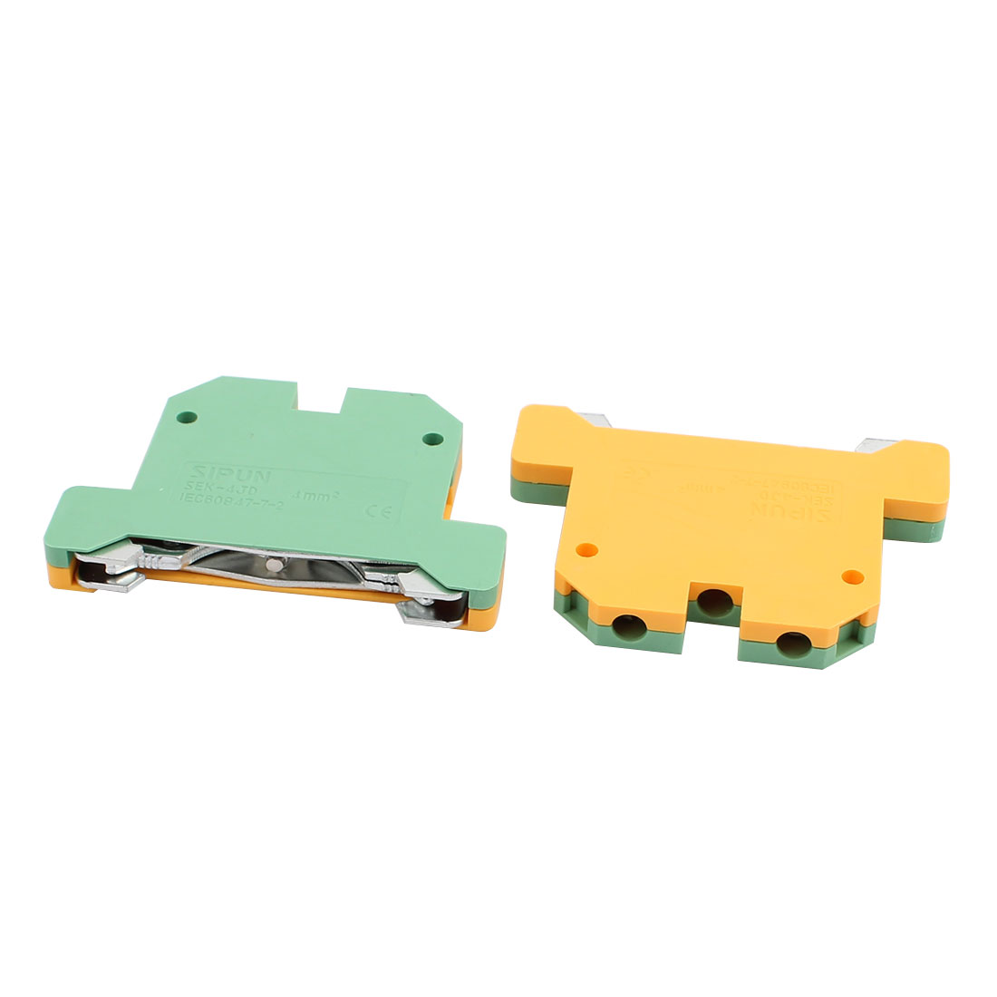 2Pcs SEK-4JD Rail Mount 4mm2 Cable Grounding Type Terminal Blocks Green Yellow