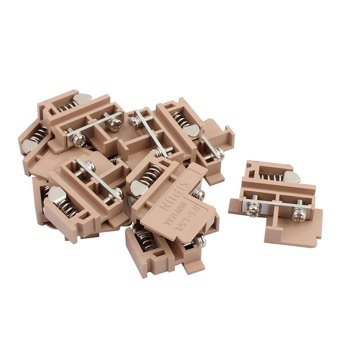 10Pcs JF5-1.5L 660V 17.5A Rail Mount 1.5mm2 Cable Contact Type Terminal Blocks Brown
