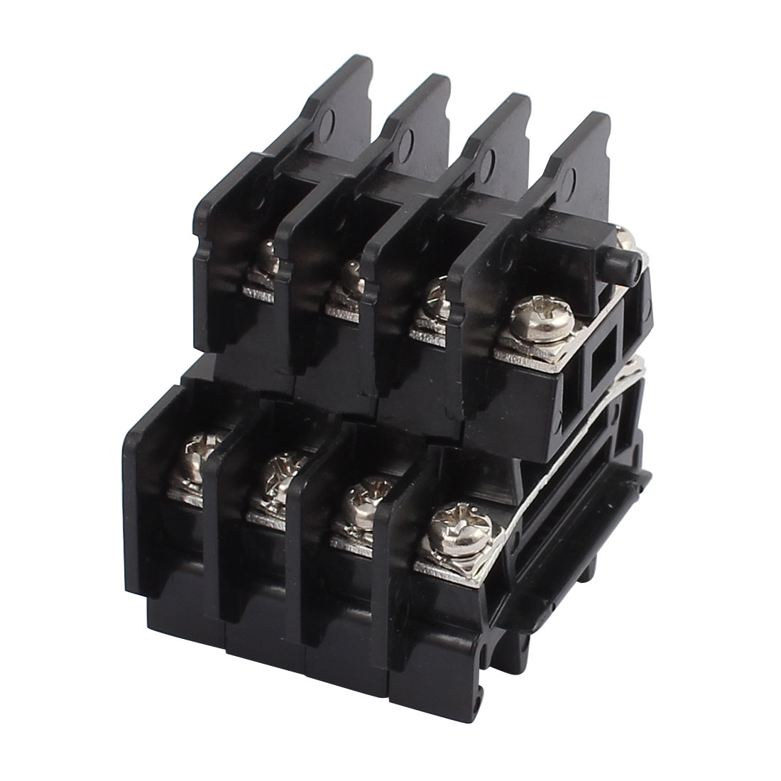 4Pcs SND-10 660V Rail Mount 1.25mm2 Cable Double Type Terminal Blocks Black
