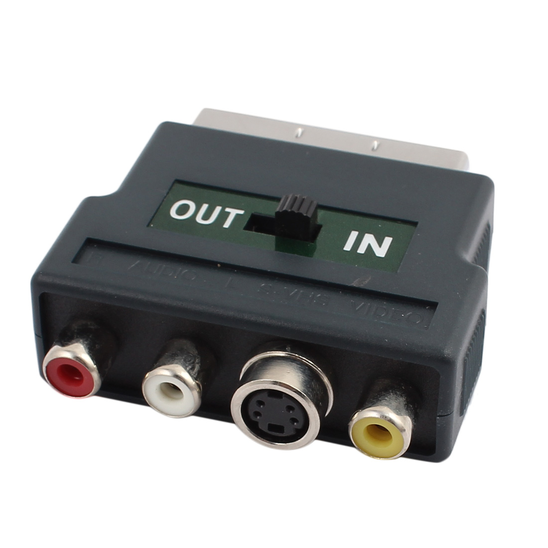 IN-OUT Switch RGB Scart Male to 3 RCA S-VHS AV TV Female Adapter Connector