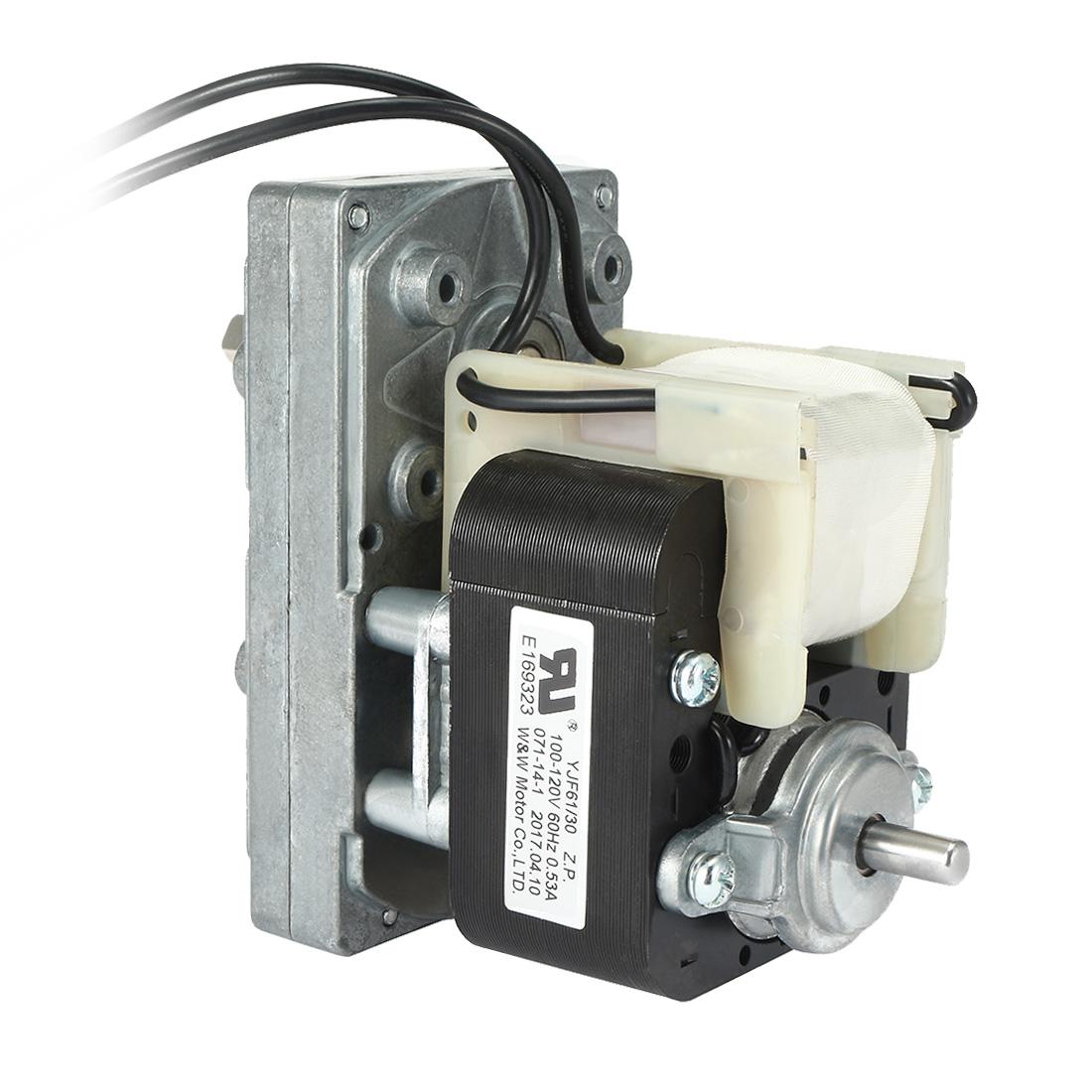 Pellet Stove Auger Motor 6RPM Clockwise Gear Motor AC 110V to 120V 60Hz 0.53A