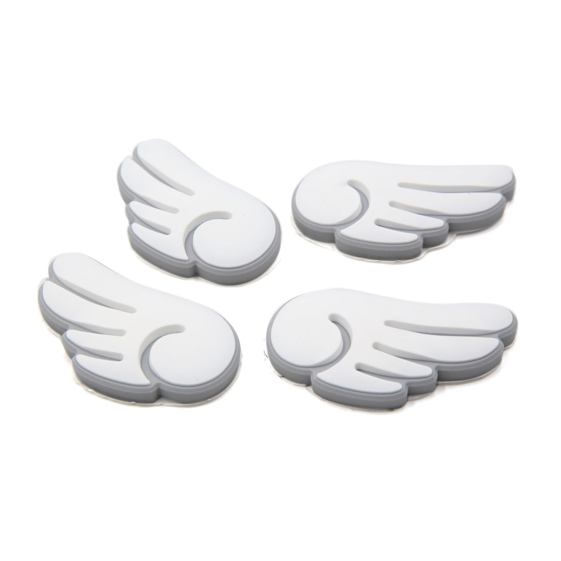 4 Pcs White Wing Design Door Edge Guard Sticker Protector Decor for Car Vehicle