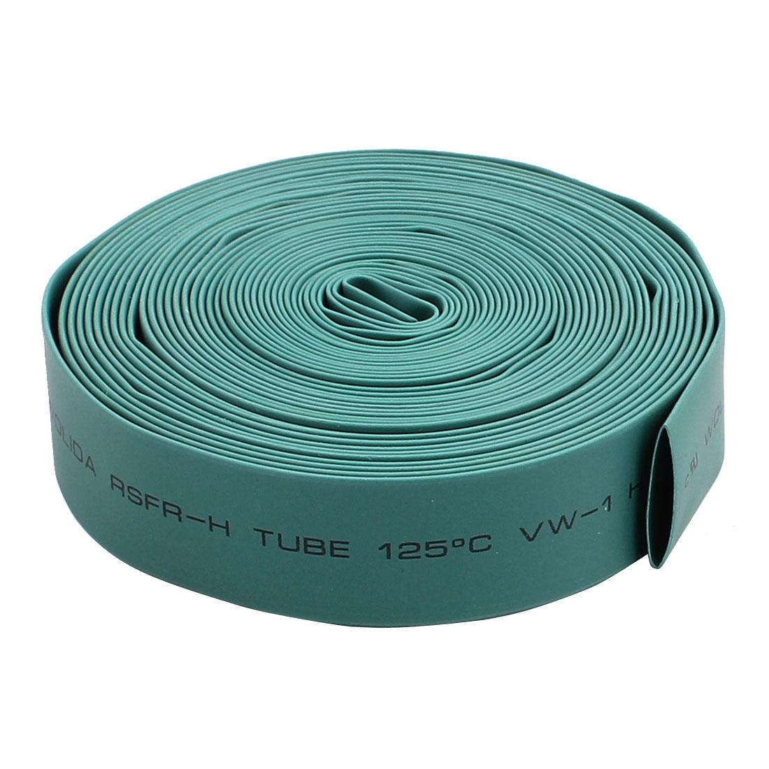 12mm Diameter 125C PVC Heat Shrink Tube Tubing Battery Wrap Green 5M Length