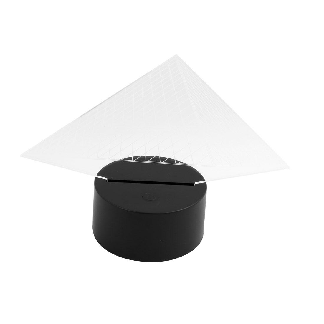 DC 5V Pyramid Shape 3D Acrylic LED Night Light 7 Color Change Desk Table Lamp