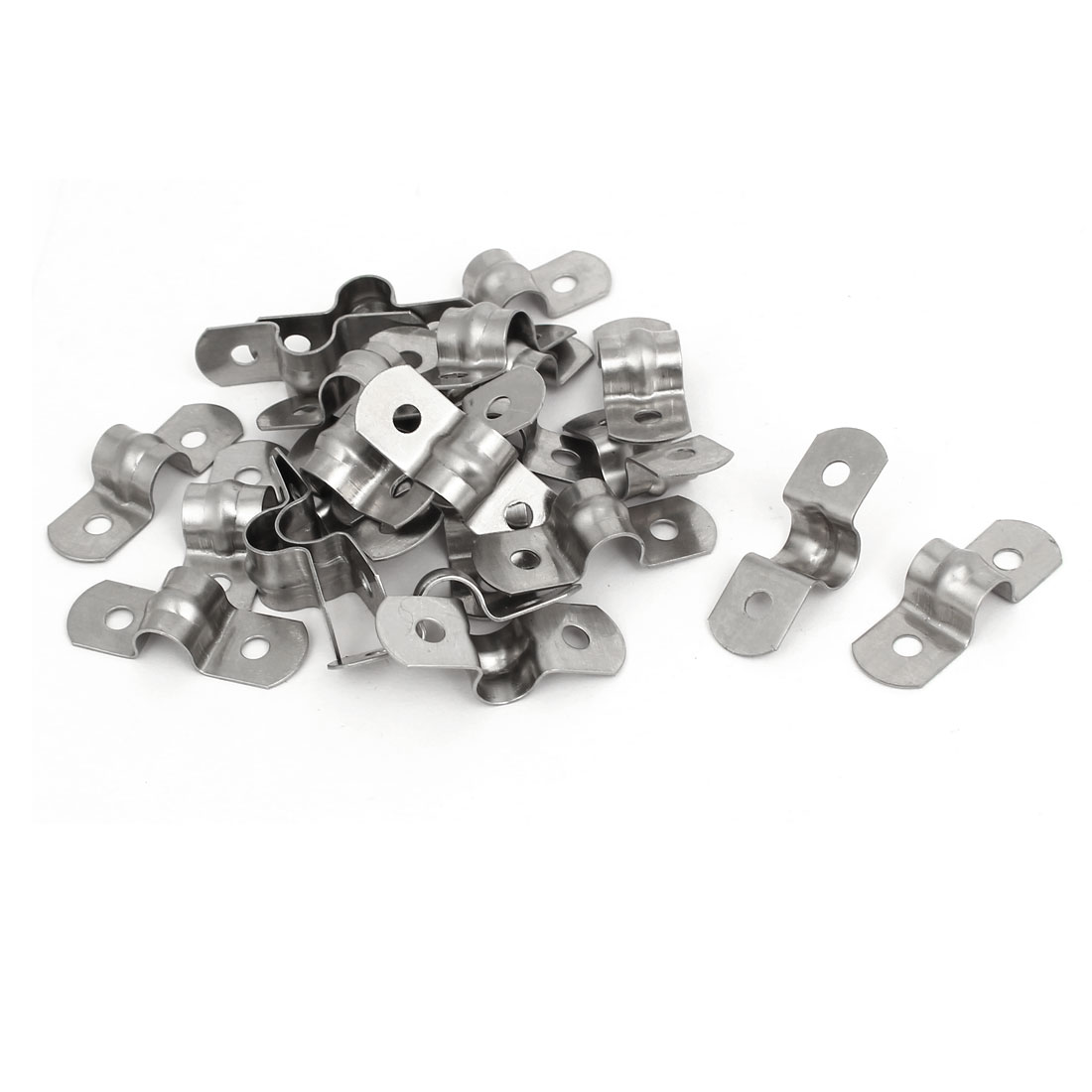M8 304 Stainless Steel Two Hole Pipe Straps Tension Tube Clip Clamp 25pcs