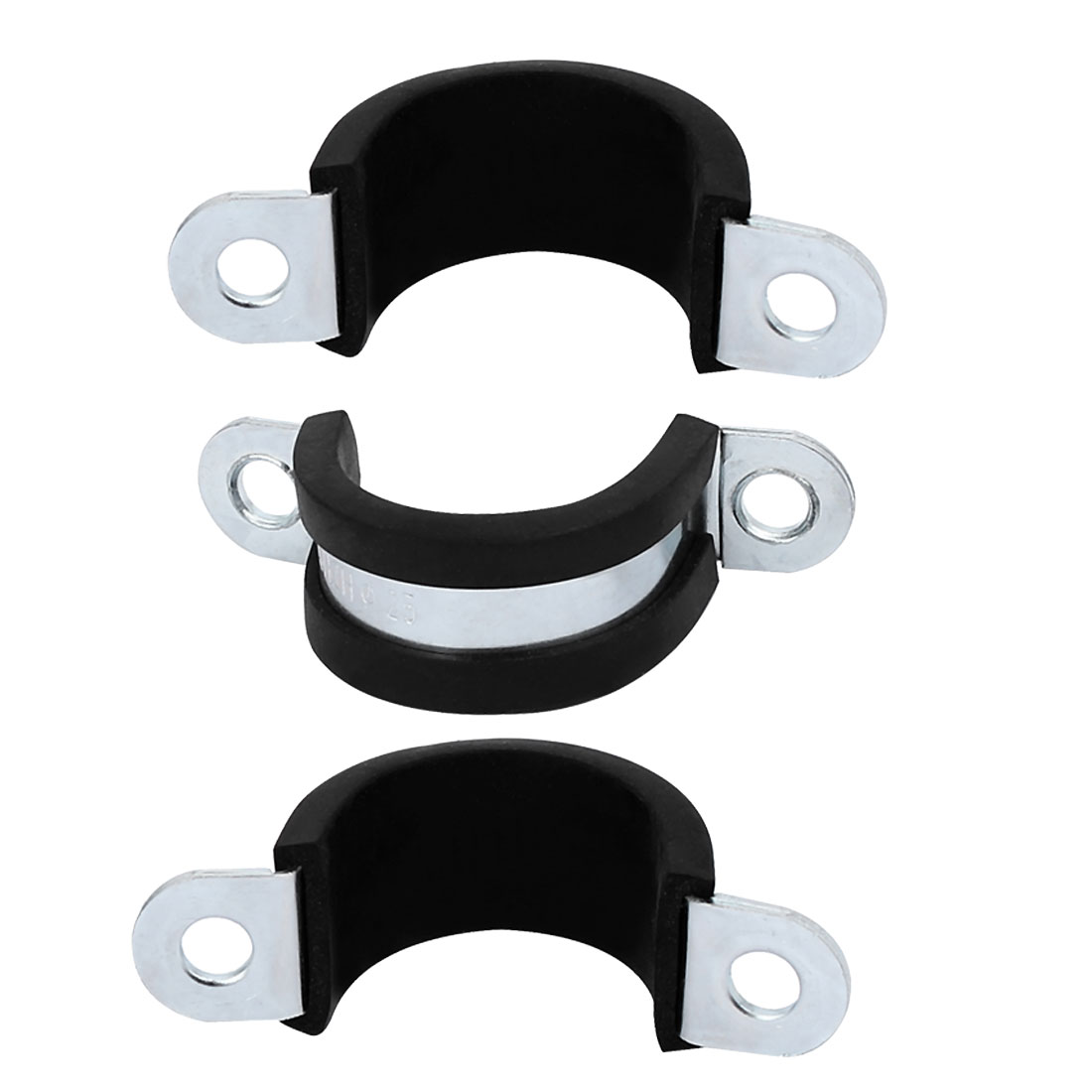 M25 EPDM Rubber Lined U Shaped Pipe Tube Strap Clamps Clips Fasteners 3pcs