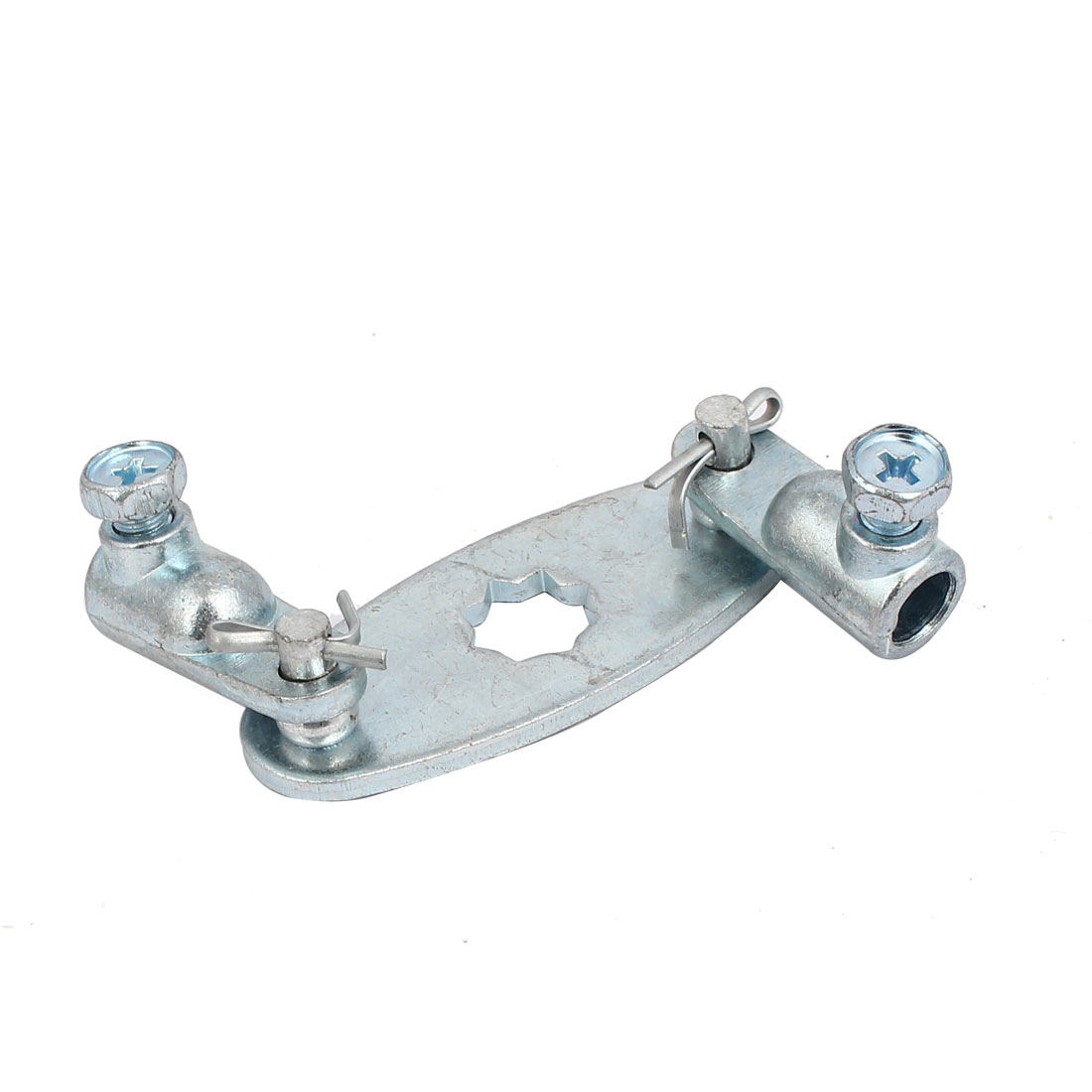 Cabinet Door Metal Screw Fixed Rotating Hinge Silver Blue 106mm Length