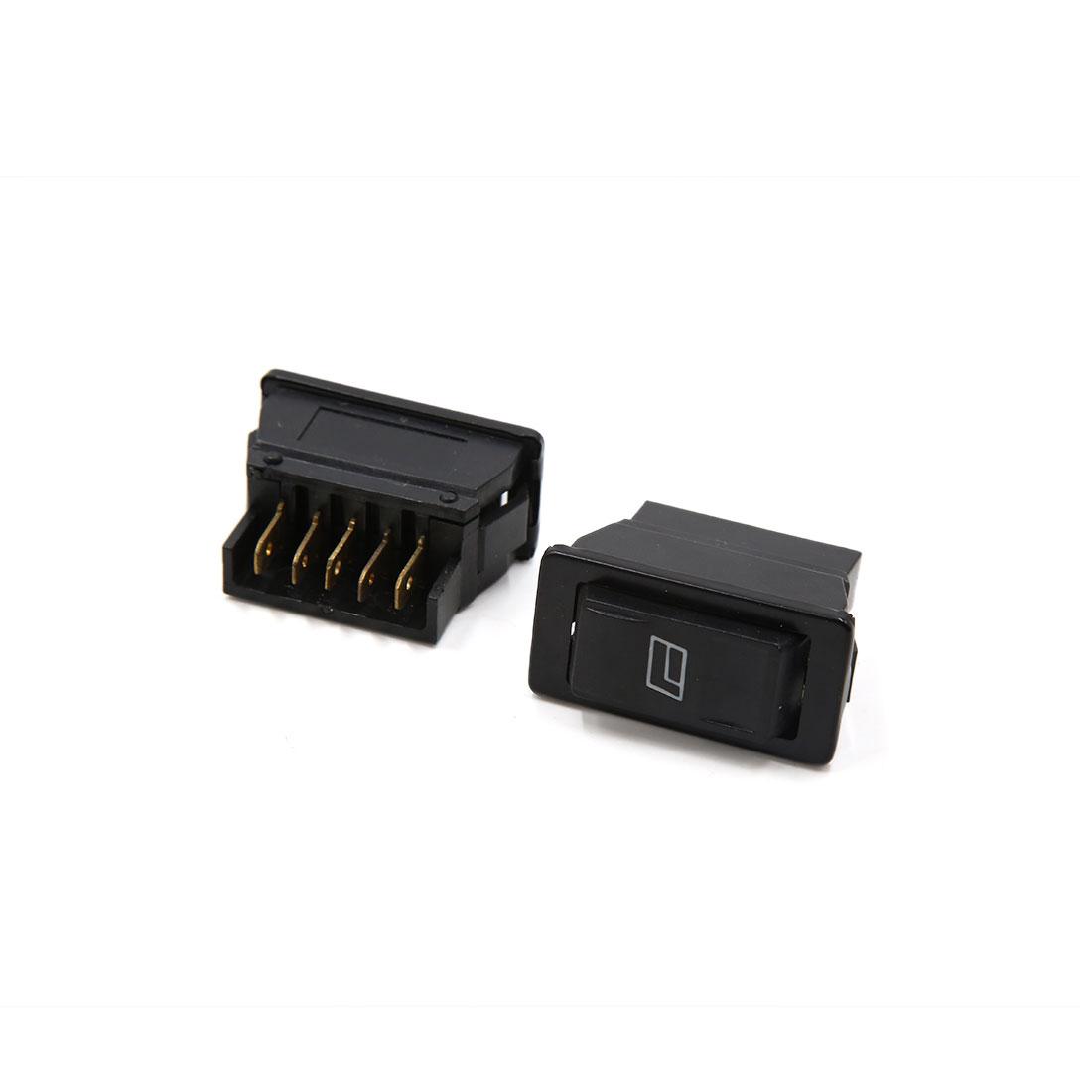 2Pcs 5 Terminals Black Car Electric Power Window Lifter Rocker Switch Controller