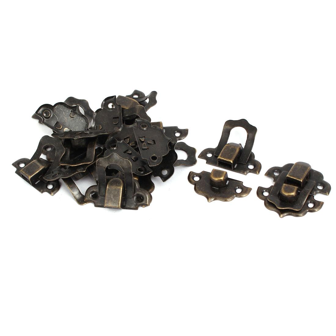 32mmx29mmx8mm Screw Fixed Catches Latches Locks Bronze Tone 10pcs for Box Case