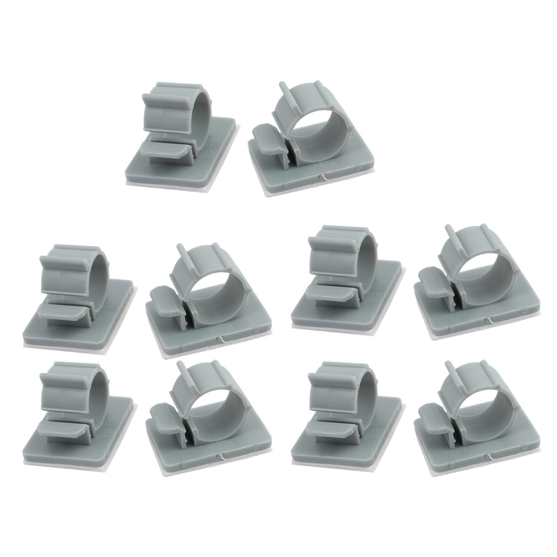 10Pcs TS-1214 Self Adhesive Adjustable Cable Tie Sticker Clip Diameter 14mm Gray