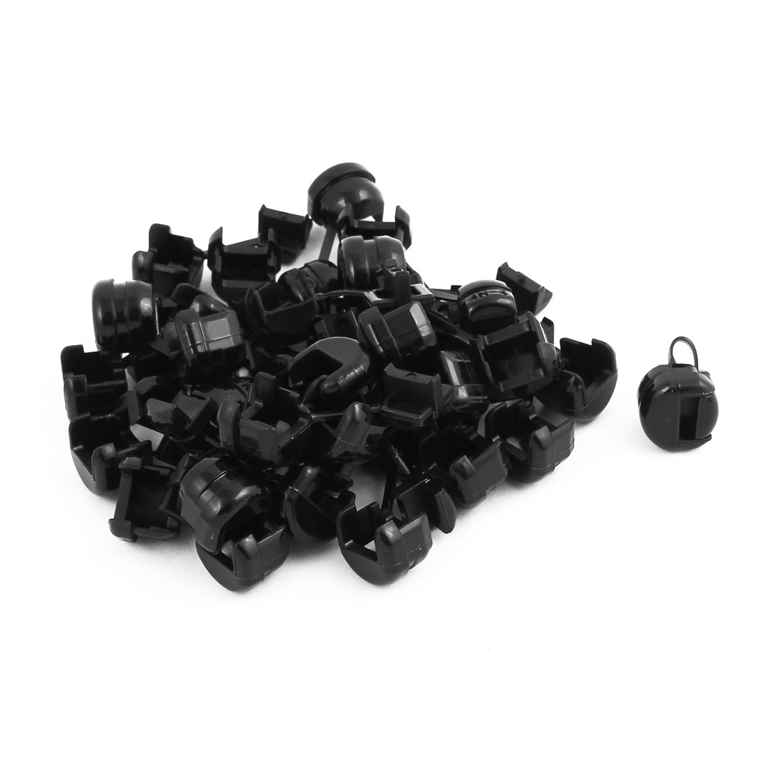 30Pcs 4N-4 Round Cable Wire Strain Relief Bush Grommet 11.5mm Diameter Black