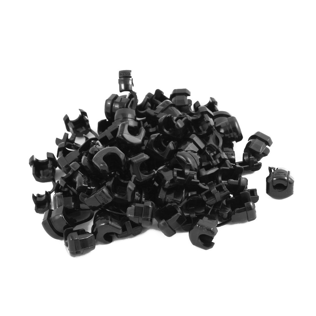 50Pcs 6N-4 Round Cable Wire Strain Relief Bush Grommet 14mm Diameter Black