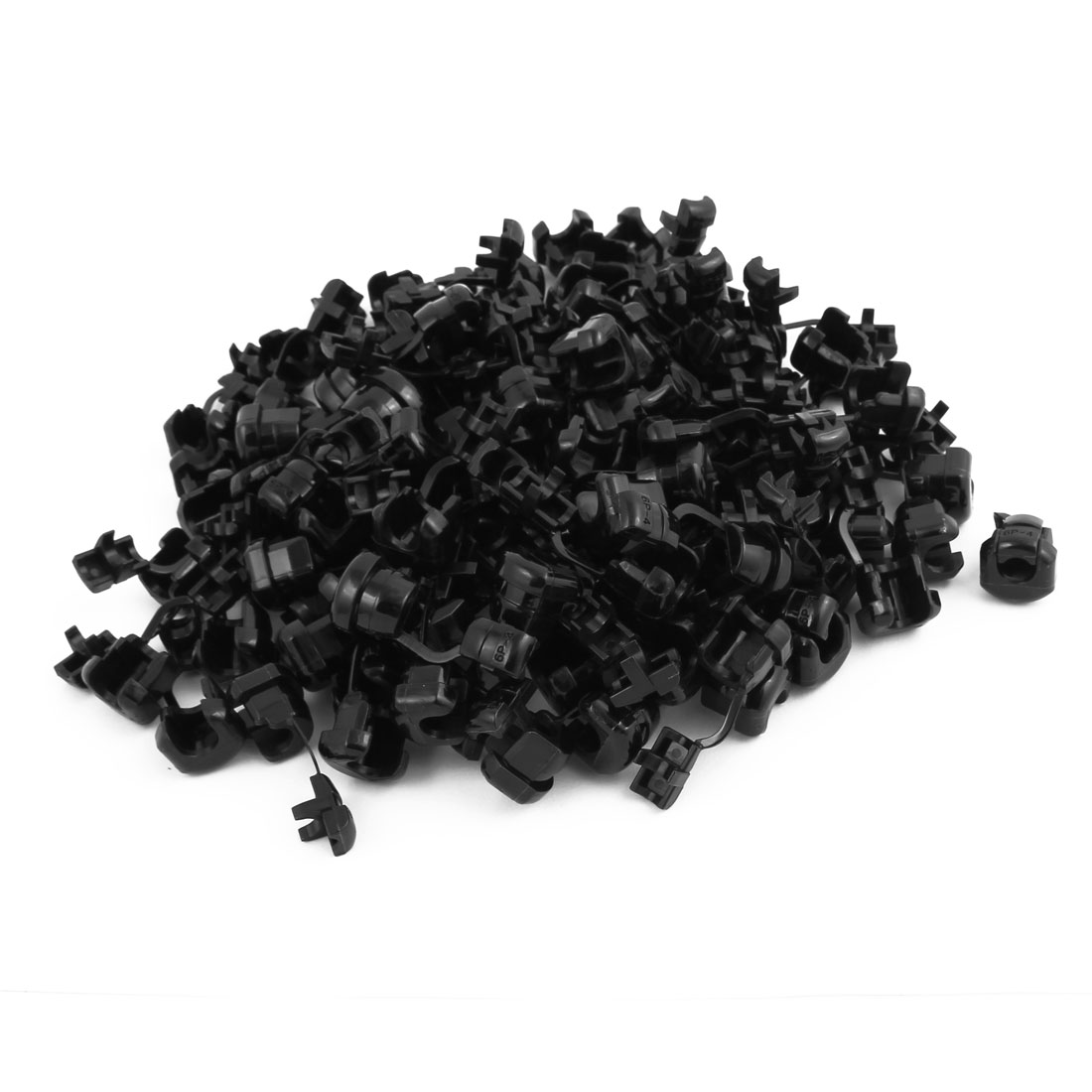 100Pcs 6P-4 Round Cable Wire Strain Relief Bush Grommet 14mm Diameter Black
