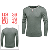 Men Crew Neck Buttons Decor Knitted Roll Edge Long Sleeves Sweater Gray S