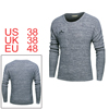 Men Crewneck Destroyed Mock Chest Pocket Long Sleeves Pullover Sweater Gray M