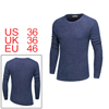 Men Crewneck Oblique Hem Long Sleeves Knitted Pullover Sweater Blue S