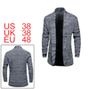 Men Shawl Collar Long Sleeves Open Front Knit Cardigan Gray M