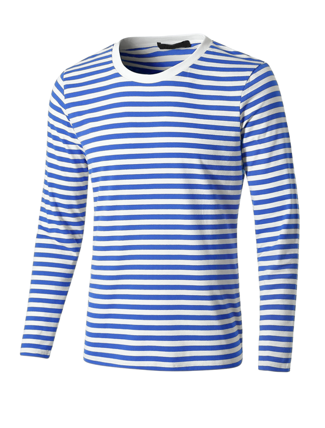 Men Crew Neck Long Sleeve Striped Tee T Shirt Blue S S (US 36)