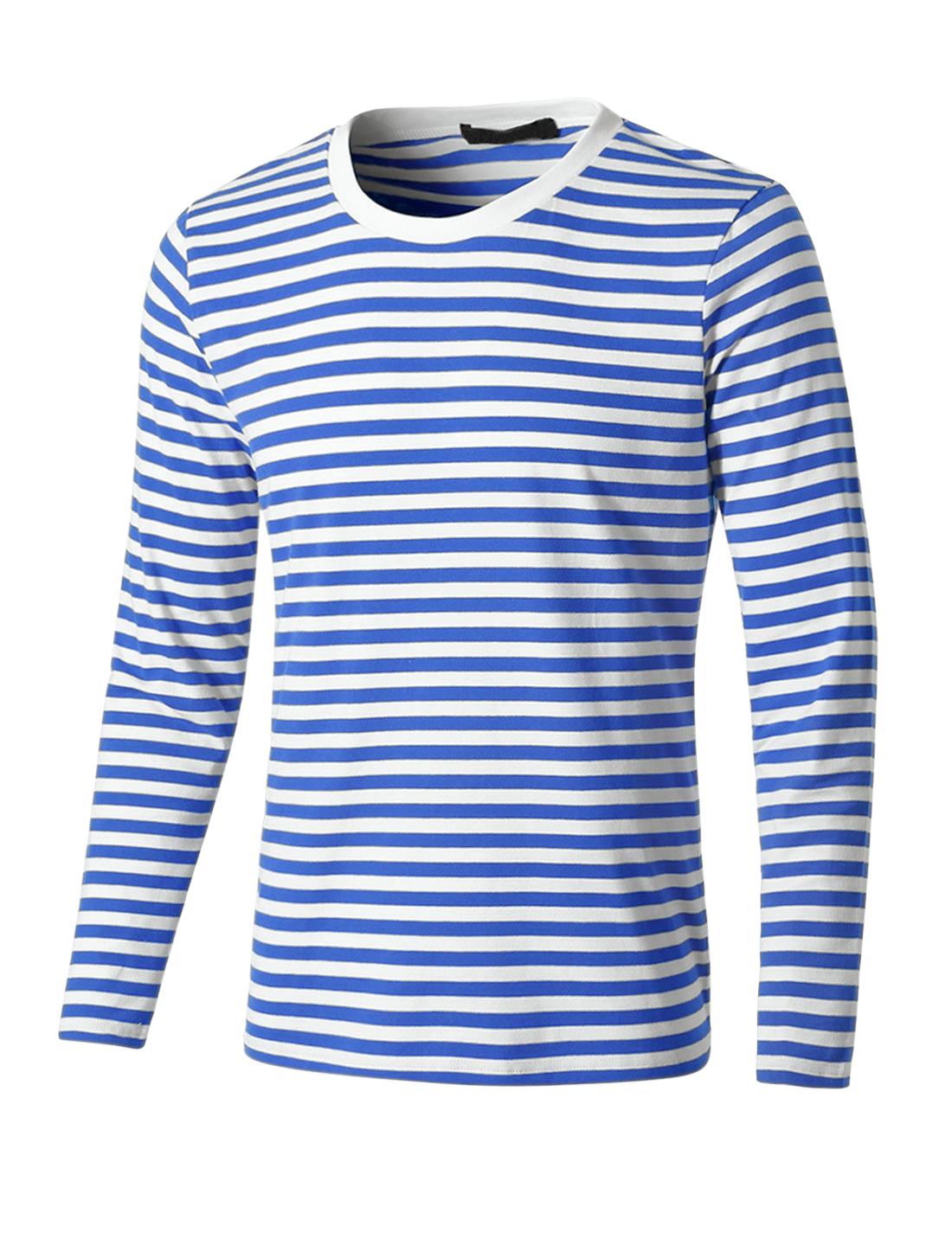 Men Crew Neck Long Sleeve Striped Tee T Shirt Blue M M (US 38)
