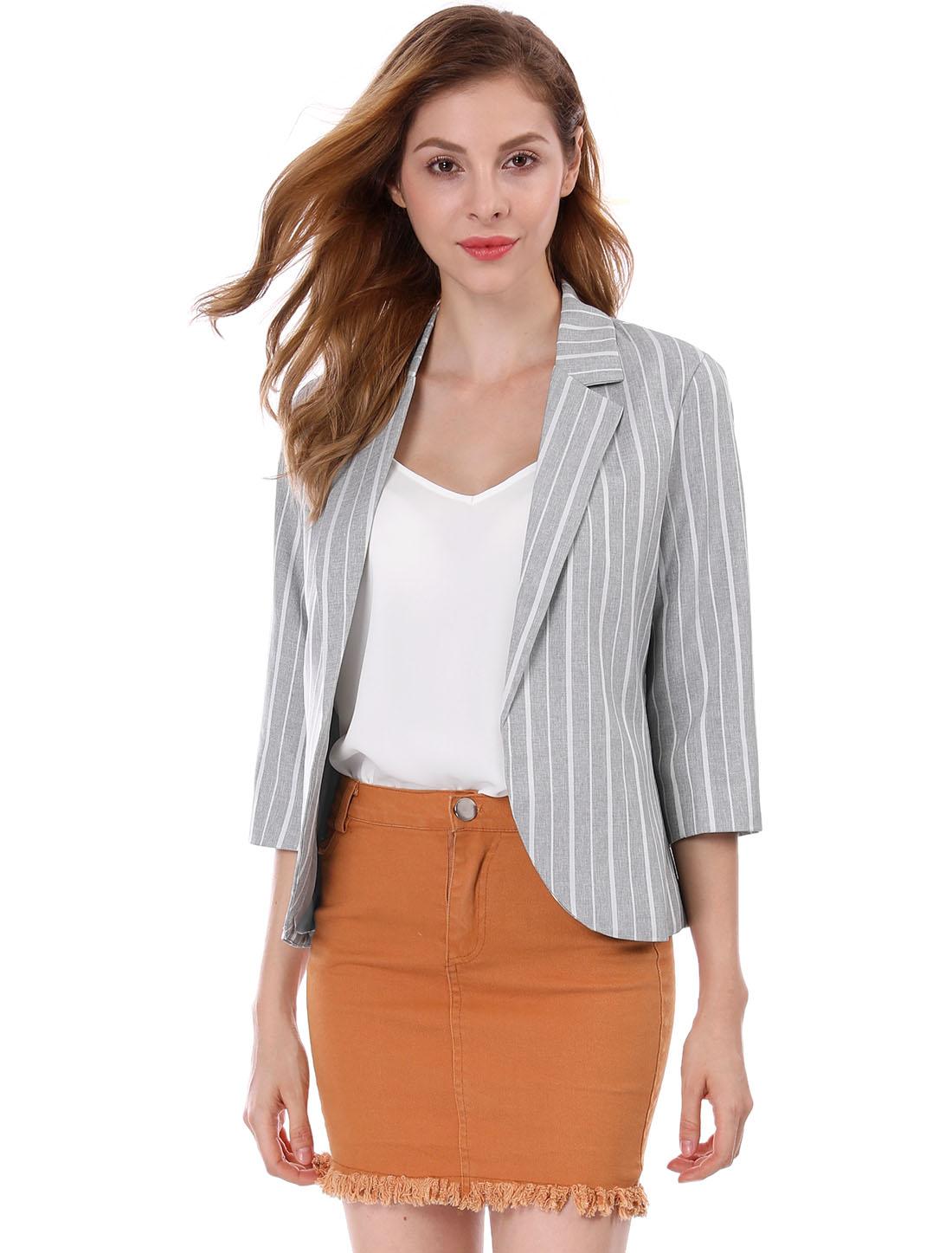 Allegra K Women Striped 3/4 Sleeves Open Front Notched Lapel Blazer Gray M