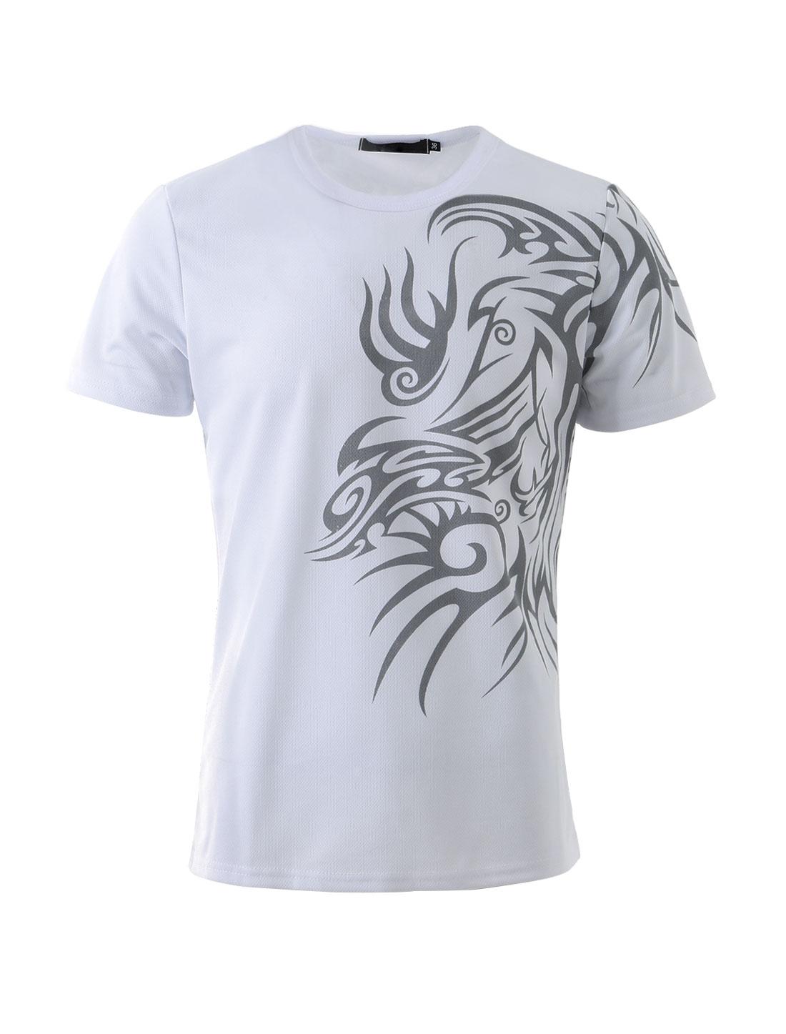 Men Round Neck Short Sleeve Slim Fit Tribal Print Casual T Shirt White S